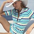 Women's Aqua Stripes Stretch Piqué Deep Placket Polo