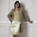 Women's Coffee Cotton Slim Raincoat