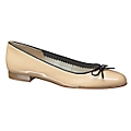 Natural Bow Detail Patent Leather Ballet Pump