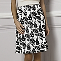 Chalk & Black Flower Print Cotton Skirt
