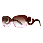 Prada PR27OS Baroque Rectangular Sunglasses, Brown Gradient Violet