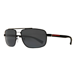Prada Linea Rossa PS55NS Lifestyle Rectangular Polarised Sunglasses, Black