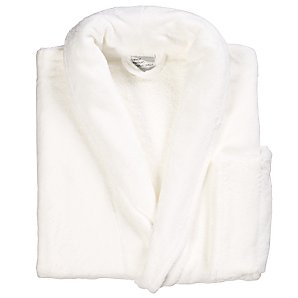 John Lewis Velour Unisex Bathrobe, White, Large