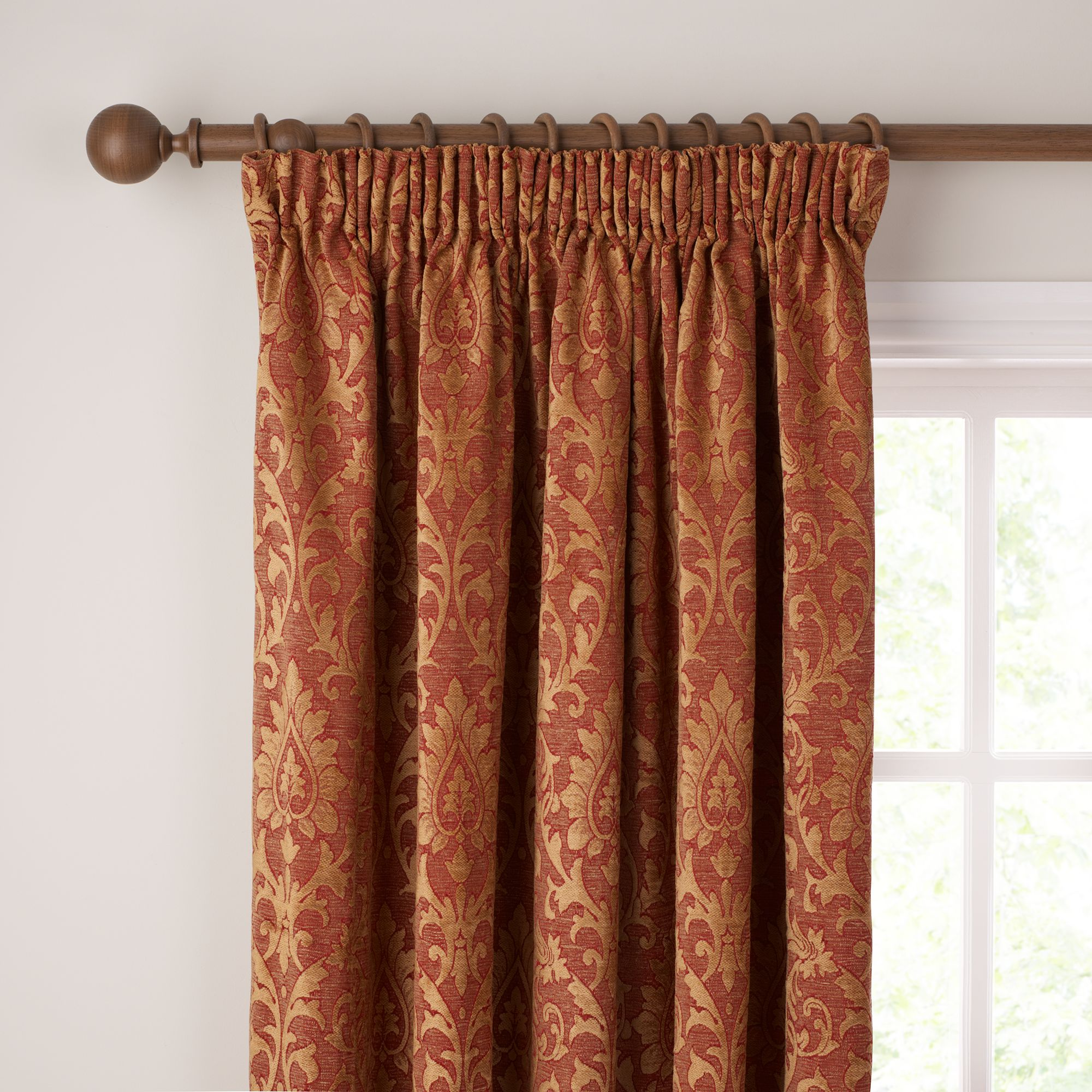Kensington Pencil Pleat Curtains, Red