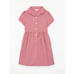 John Lewis Check Print Cotton Dress, Red