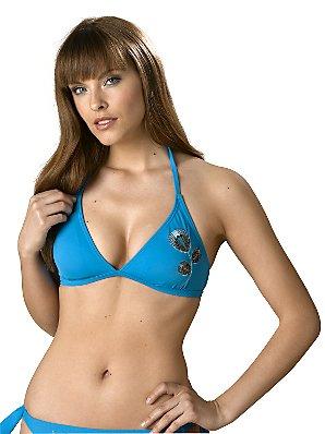 John Lewis Jaipur Bikini Top, Blue, Size 12