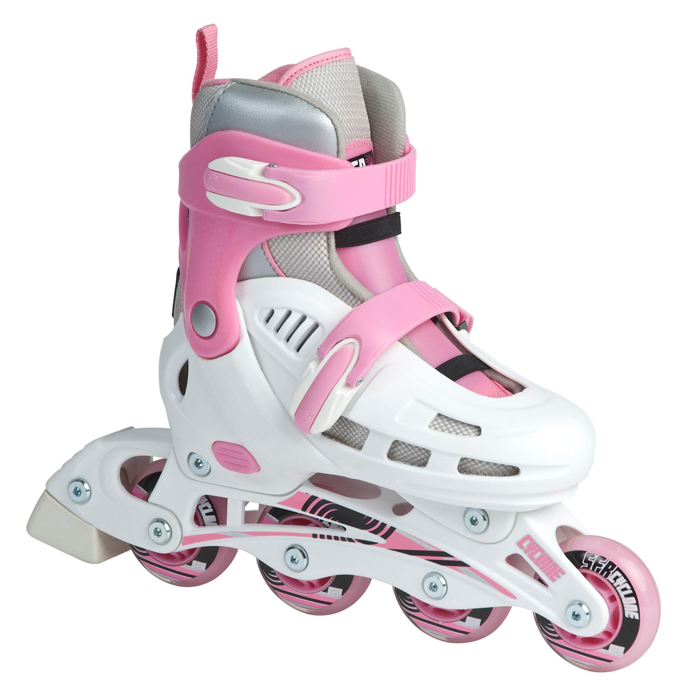 Stateside Cyclone Inline Adjustable Skates, Pink/White