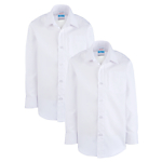 John Lewis Long Sleeve Non-Iron Shirt, Pack of 2, White