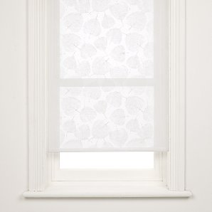 John Lewis Leaf Sheer Roller Blind, White, W183cm