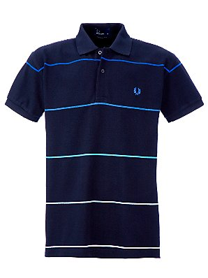 Fred Perry Stripe Polo Shirt, Navy, S