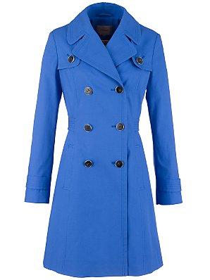 John Lewis Chloe Premium Trench Coat, Blue, Size 10