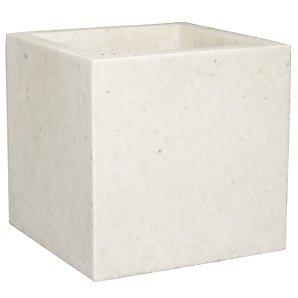 Lightweight Terrazzo Square Planter, White, Large