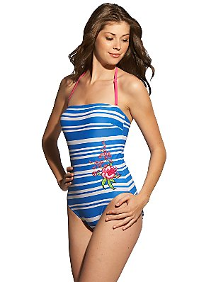 John Lewis Mablethorpe Swimsuit, Blue, Size 8