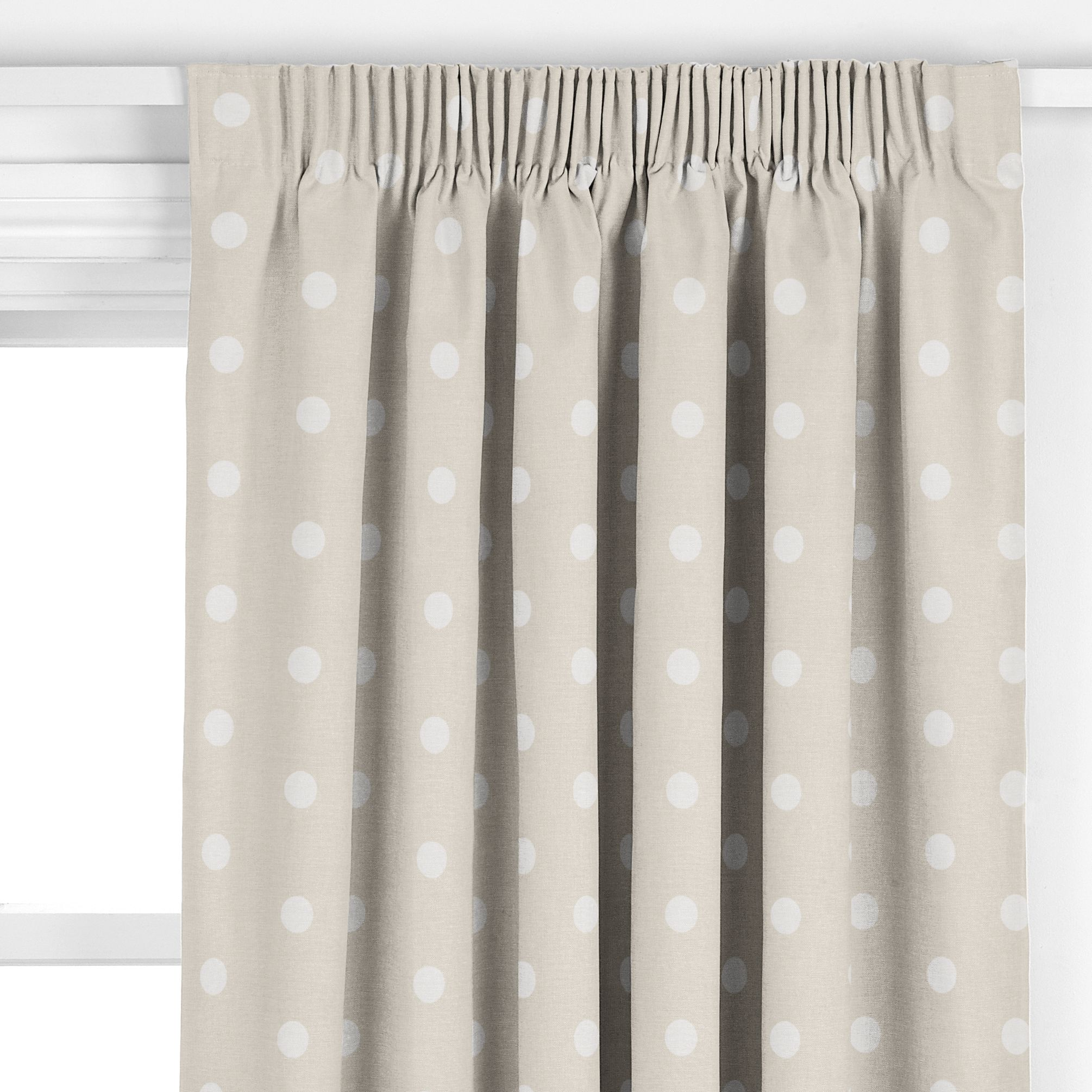 John lewis multi spot curtains white beige review for Pencil pleat curtains on track