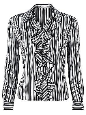 Stripe Ruffle Front Blouse, Black,