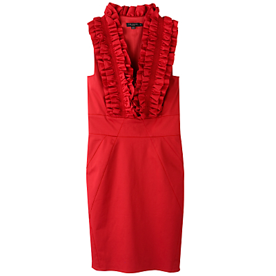 Buy Ted Baker Frill V-Neck Fitted Dress, Red  online at JohnLewis.com - John Lewis