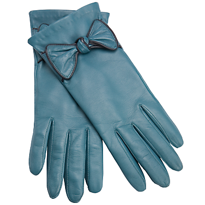 Buy John Lewis Bow Leather Gloves, Teal/Navy online at JohnLewis.com - John Lewis