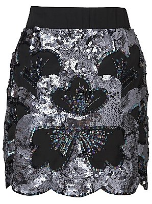 Oasis Flower Sequin Skirt, Silver, 10