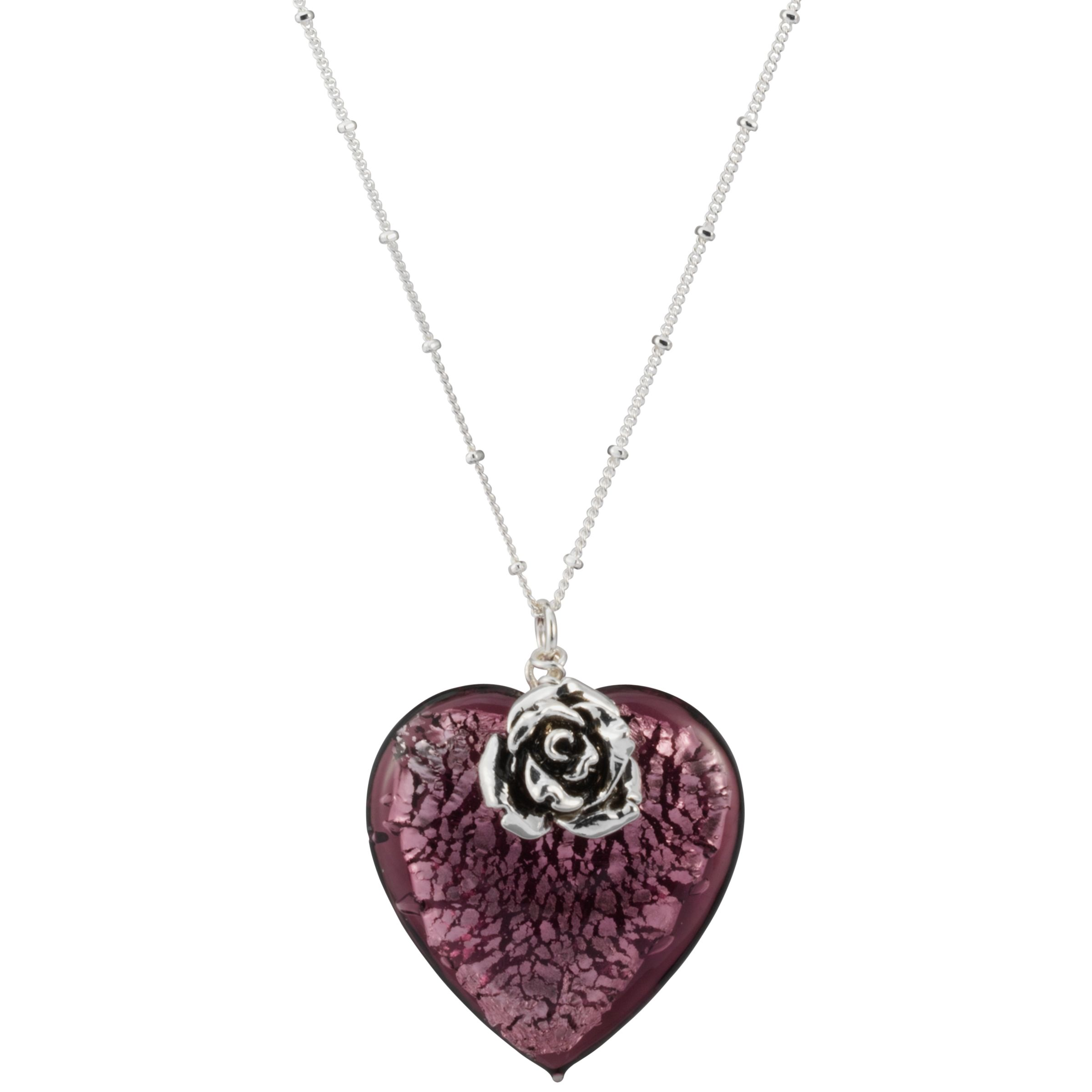 Martick Bohemian Glass Heart Necklace, Blackberry/Rose