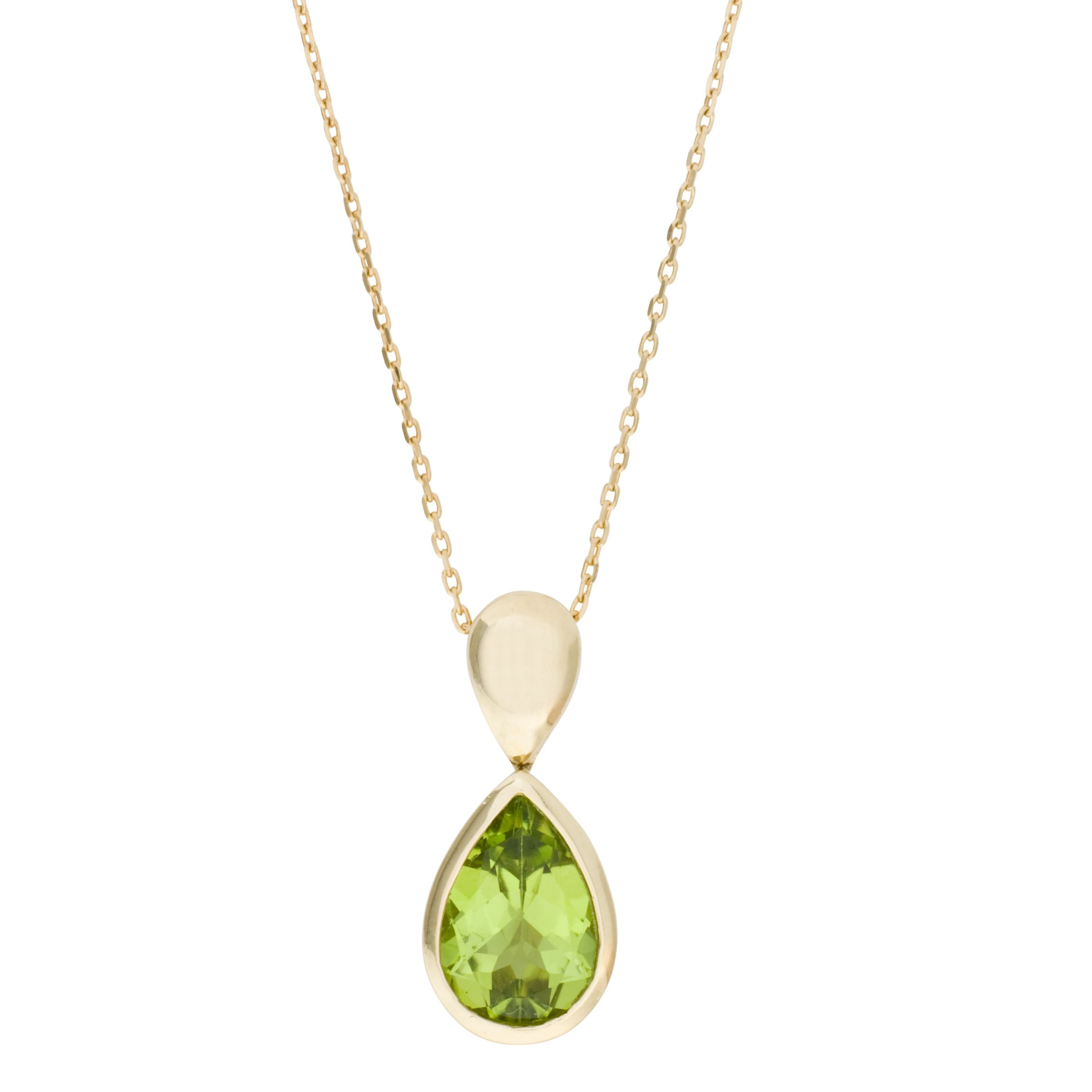 London Road Gold Peridot Pendant Necklace