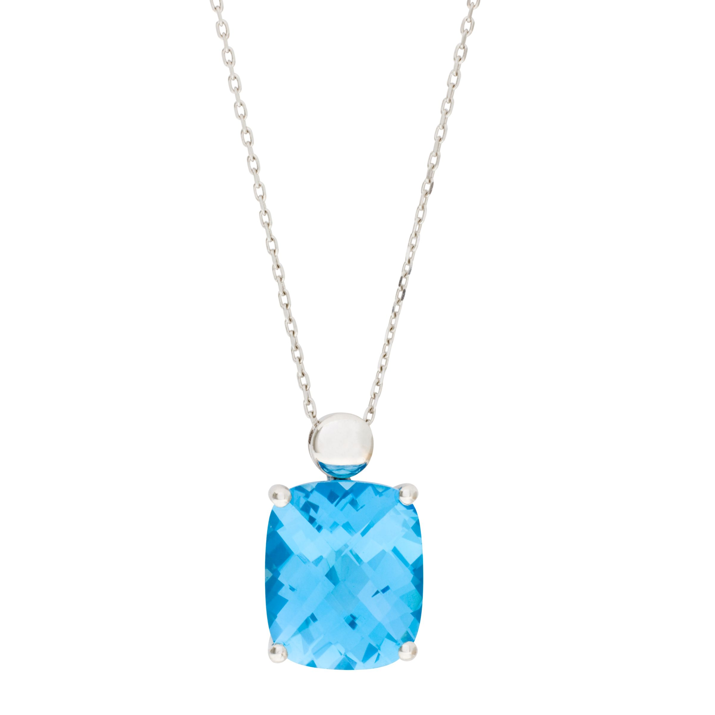 London Road White Gold Topaz Pendant Necklace