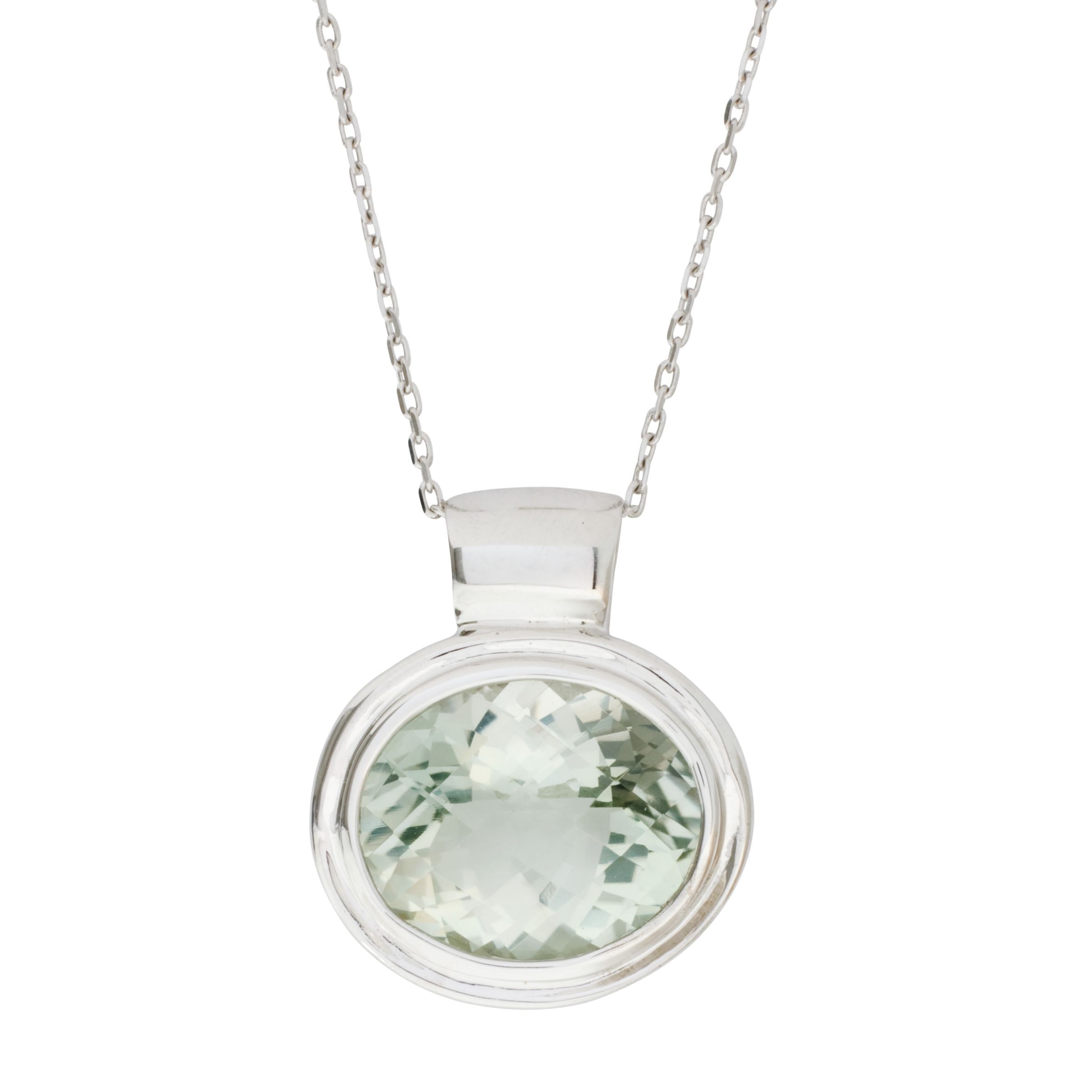 London Road White Gold Green Amethyst Pendant Necklace