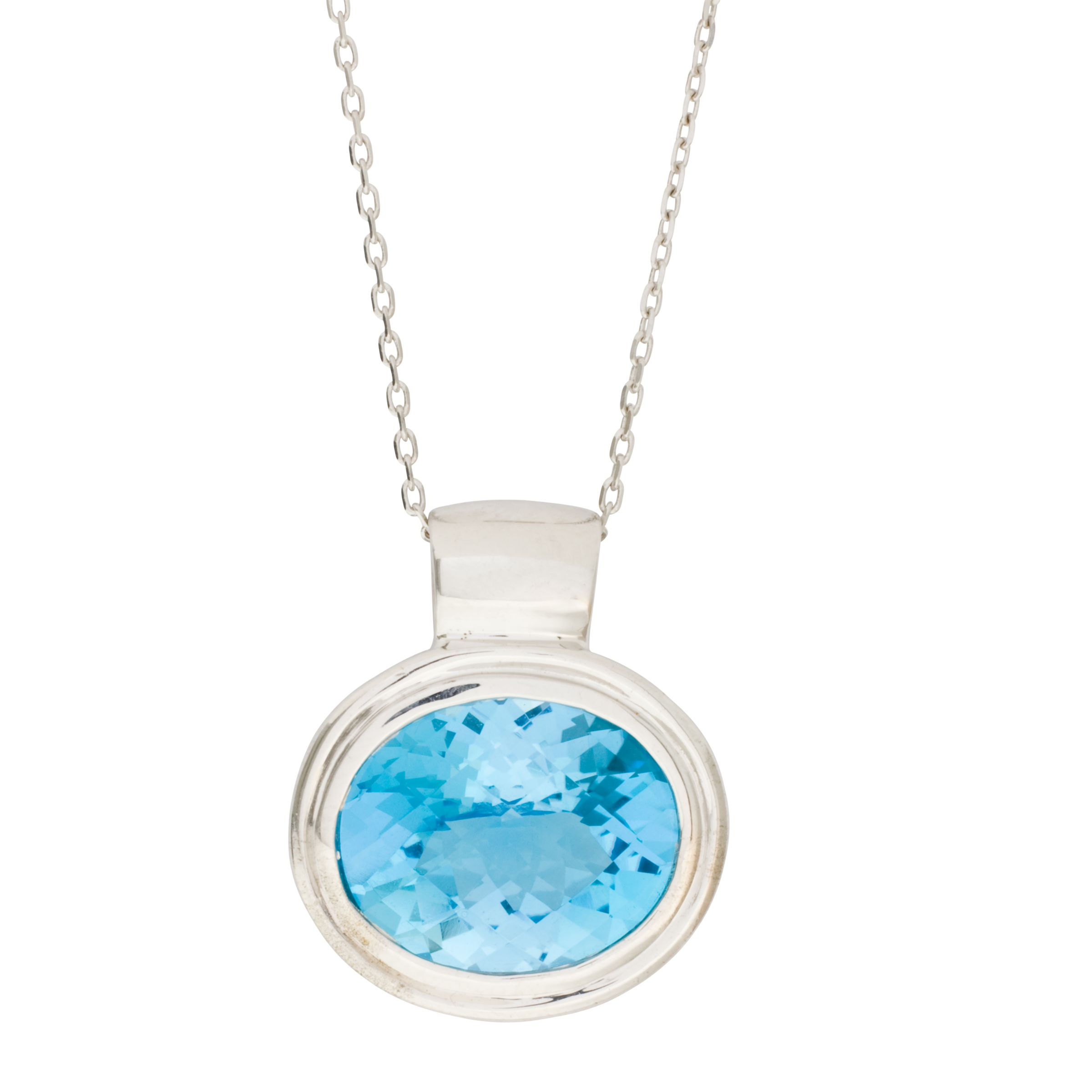 London Road White Gold Oval Topaz Pendant Necklace