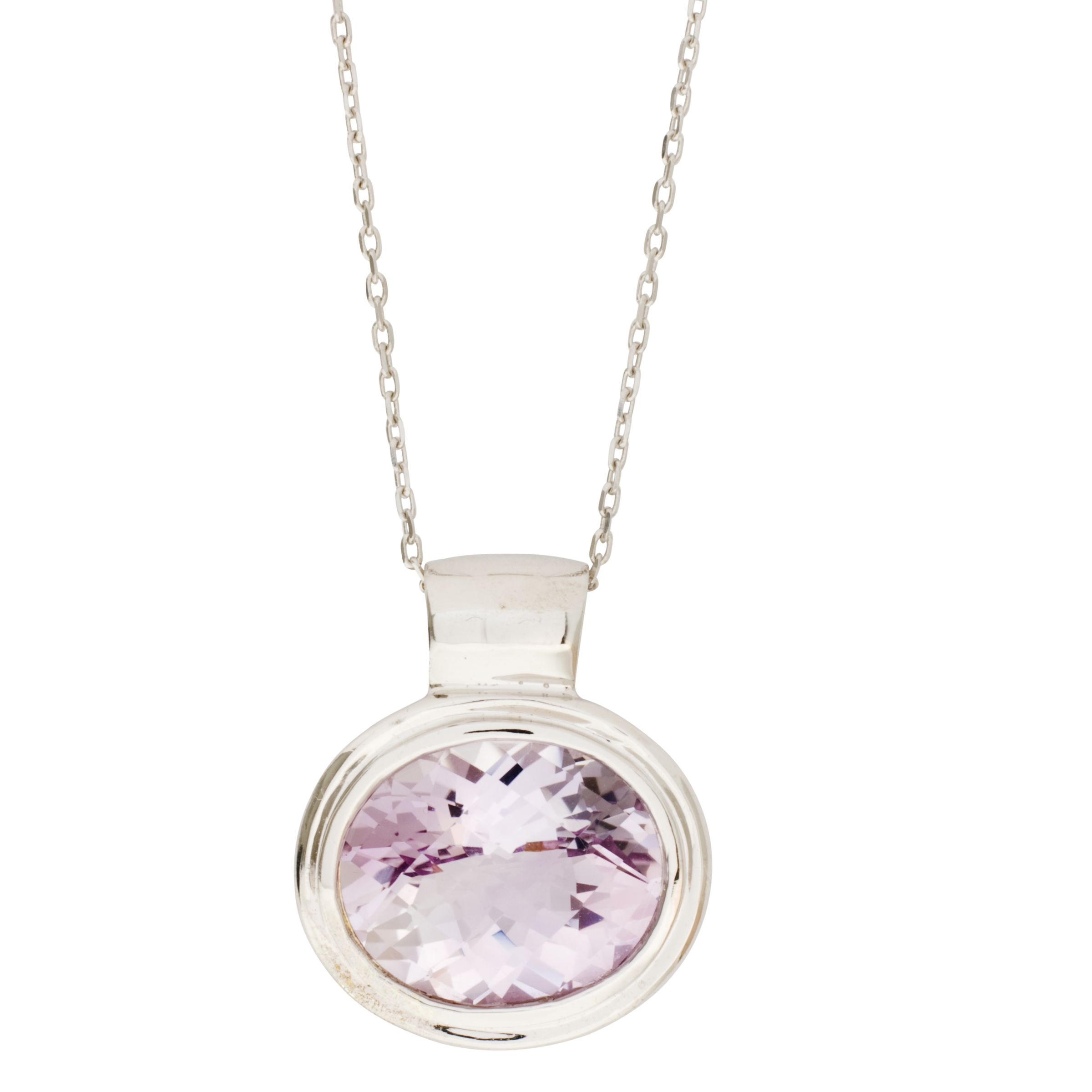 London Road White Gold Oval Amethyst Pendant Necklace