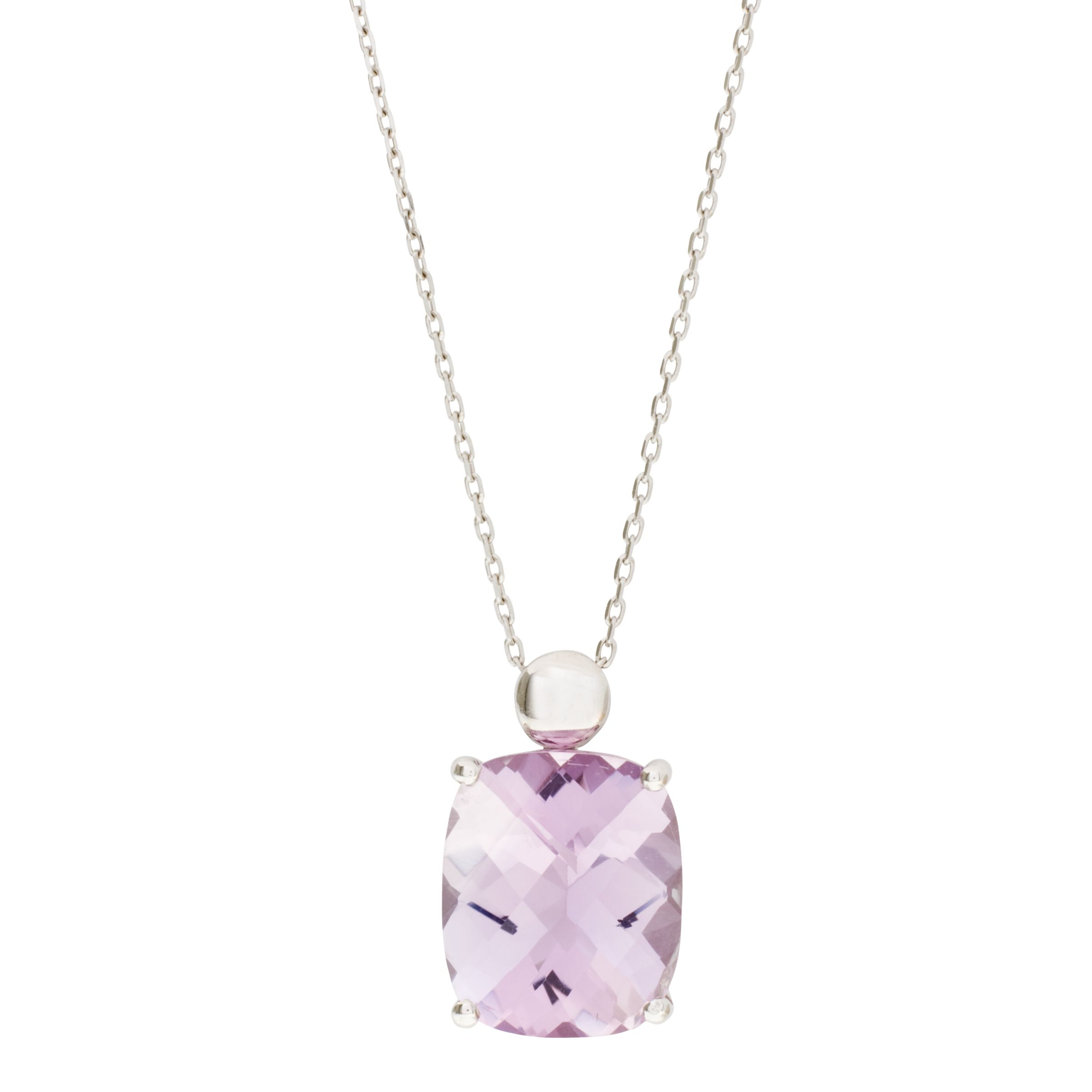 London Road White Gold Rose Amethyst Pendant Necklace