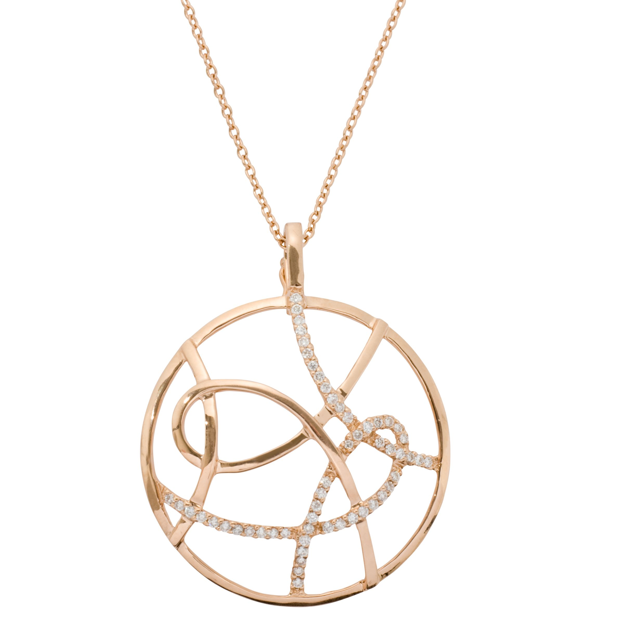 London Road Rose Gold Diamond Circle Pendant Necklace