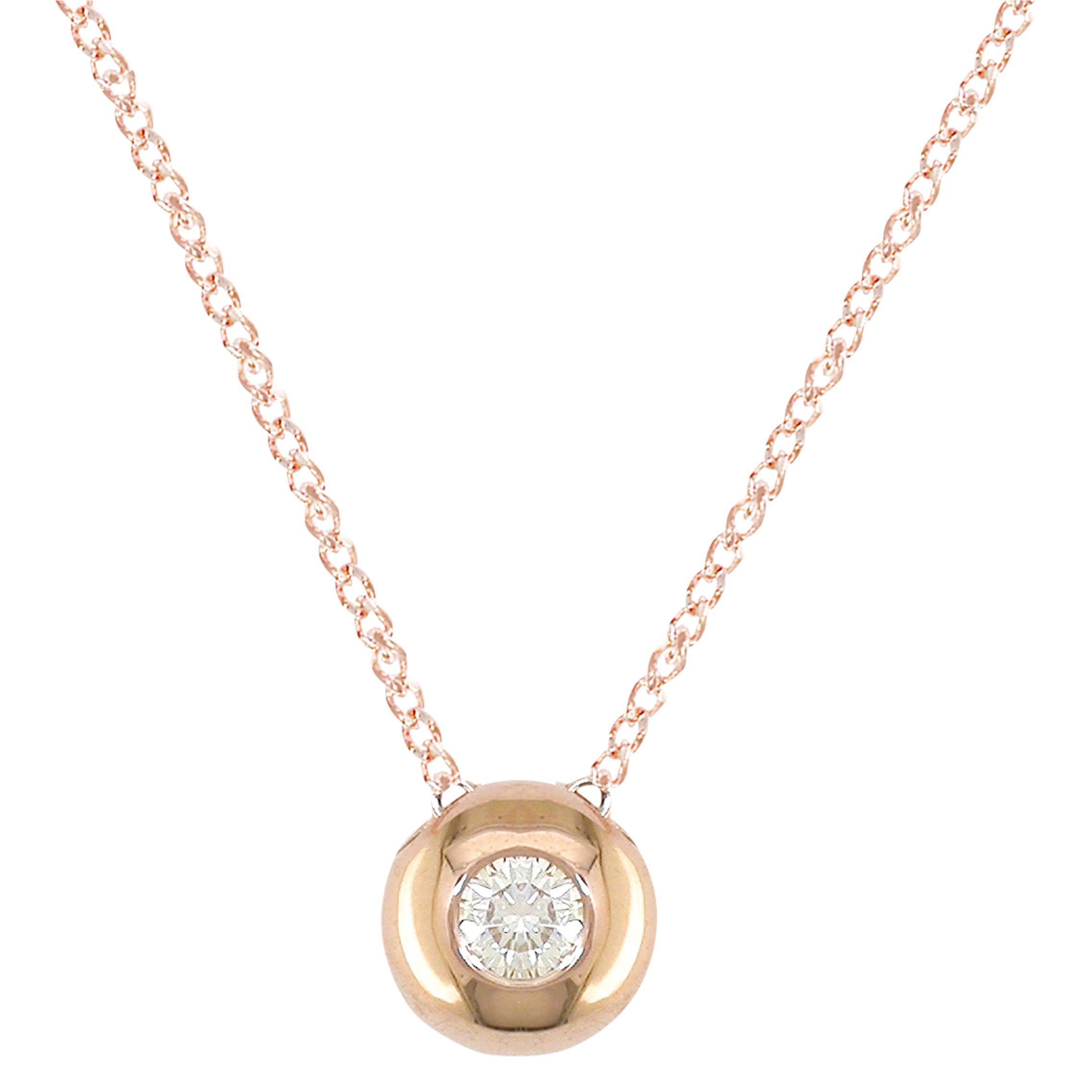 London Road Rose Gold Diamond Slide Pendant Necklace
