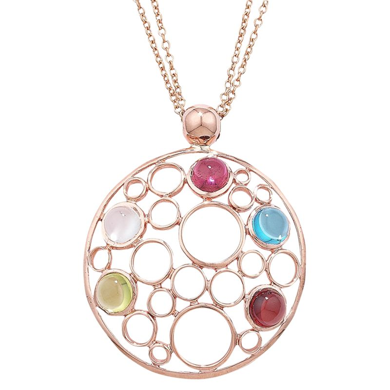 London Road Circular Rose Gold Multi Pendant Necklace