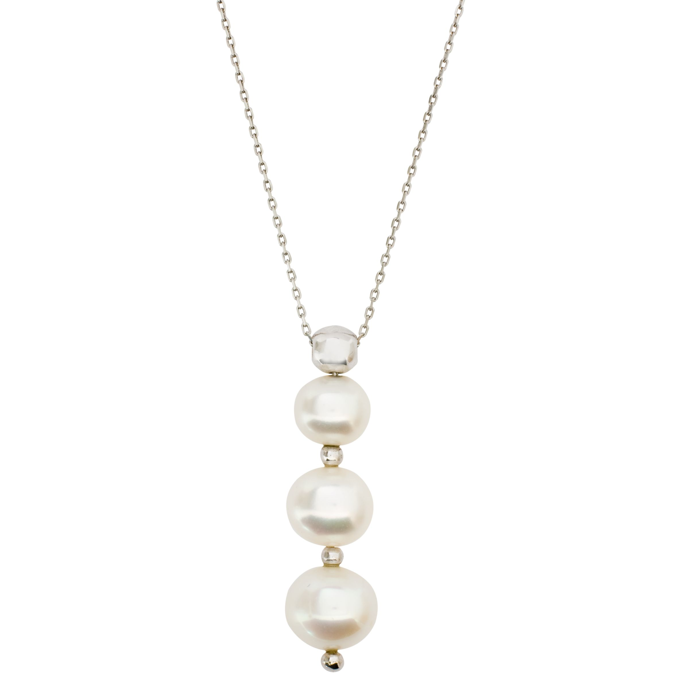 London Road White Gold 3 Pearl Drop Pendant Necklace