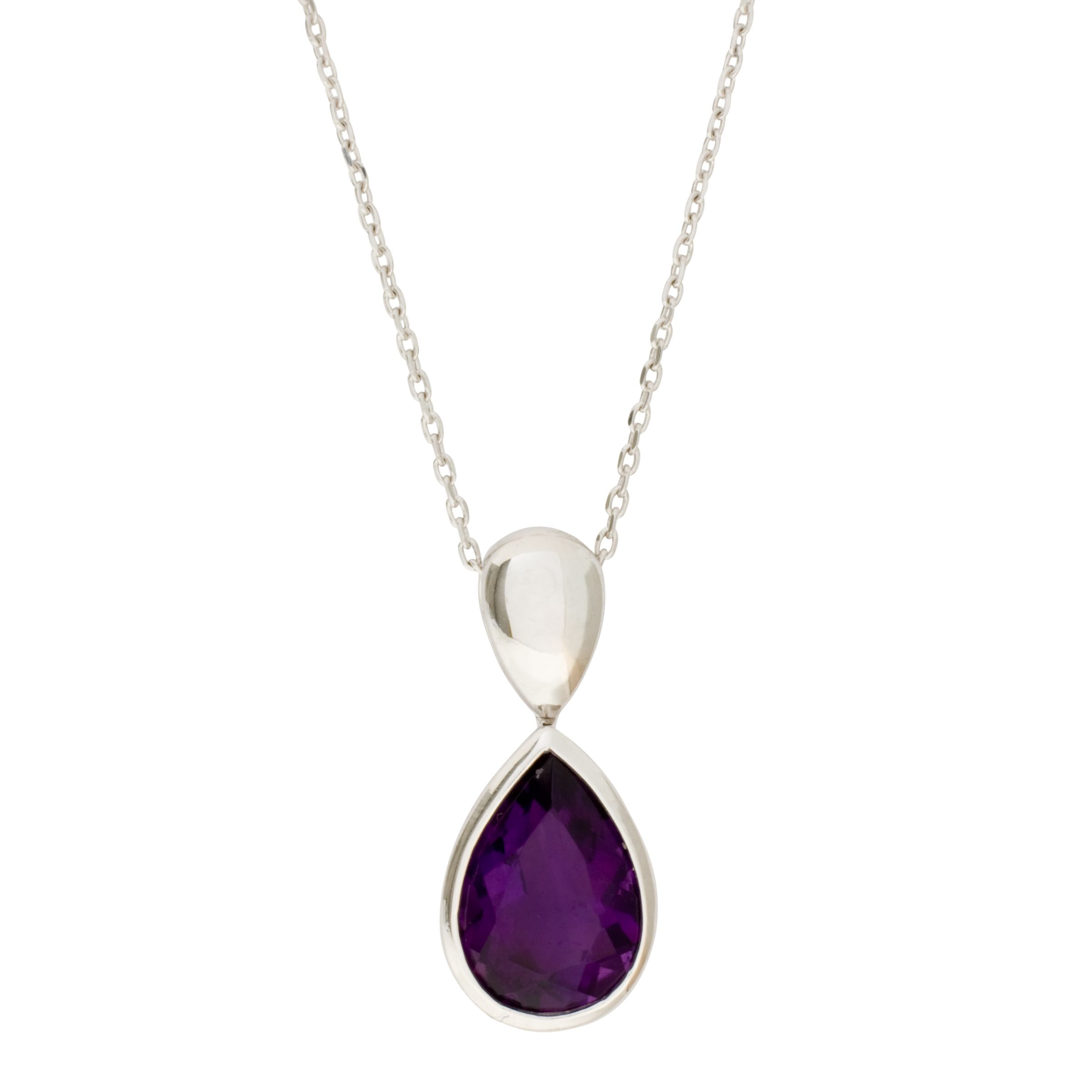 White Gold Amethyst Pendant Necklace