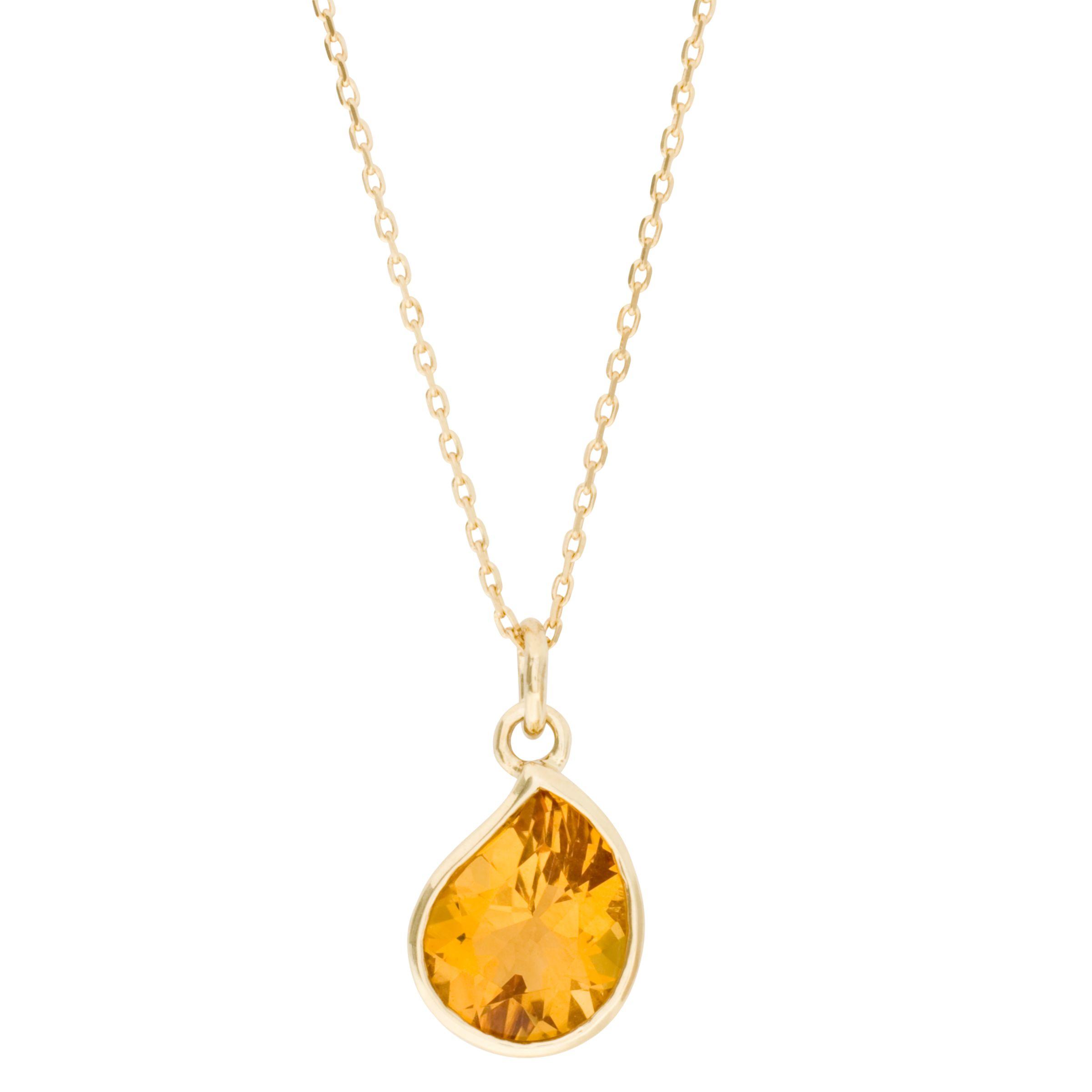 London Road Gold Citrine Pendant Necklace