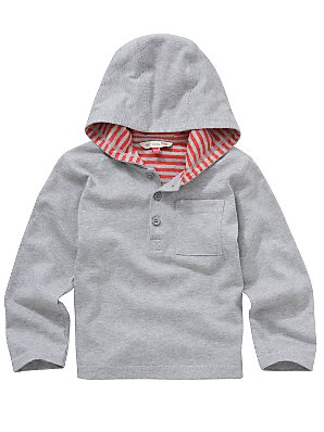 John Lewis Boy Hooded T-Shirt, Grey, 6-9 months