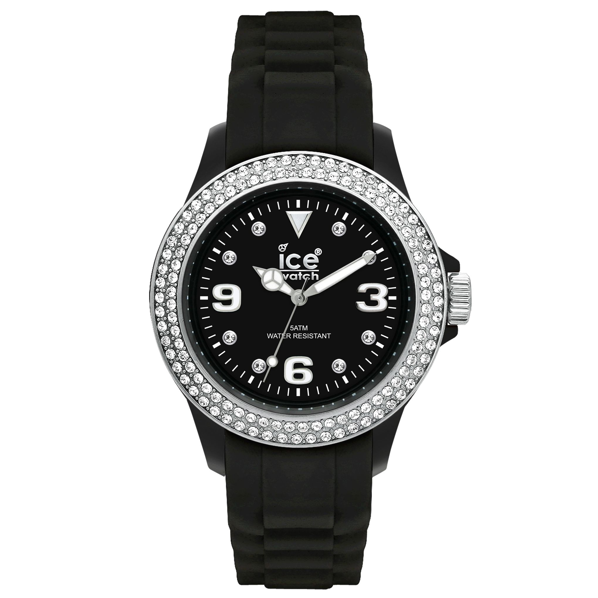 Ice-Watch ST-BS-SS LDS Unisex Stone Sili Collection Black Strap Watch