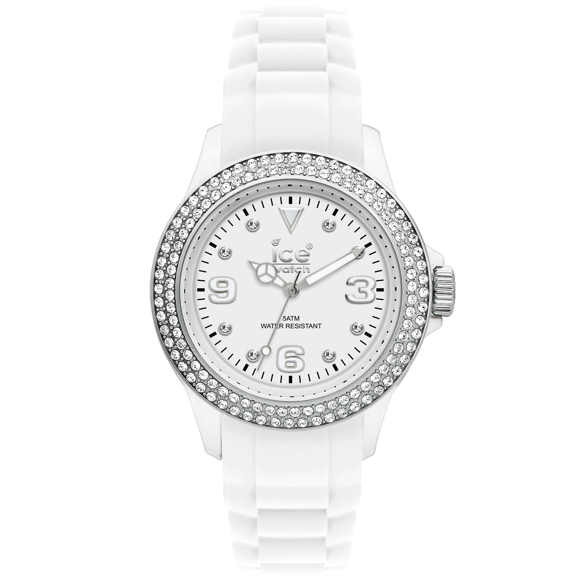Ice-Watch ST-BS-SS LDS Unisex Stone Sili Collection White Strap Watch