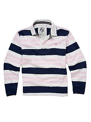 Crew Clothing Elba Rugby Shirt, White/Navy, L product image