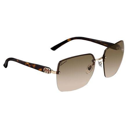 Gucci Women's Rimless Logo Sunglasses, Tortoiseshell at John Lewis