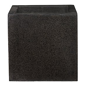 Lightweight Terrazzo Square Planter, Black, Medium