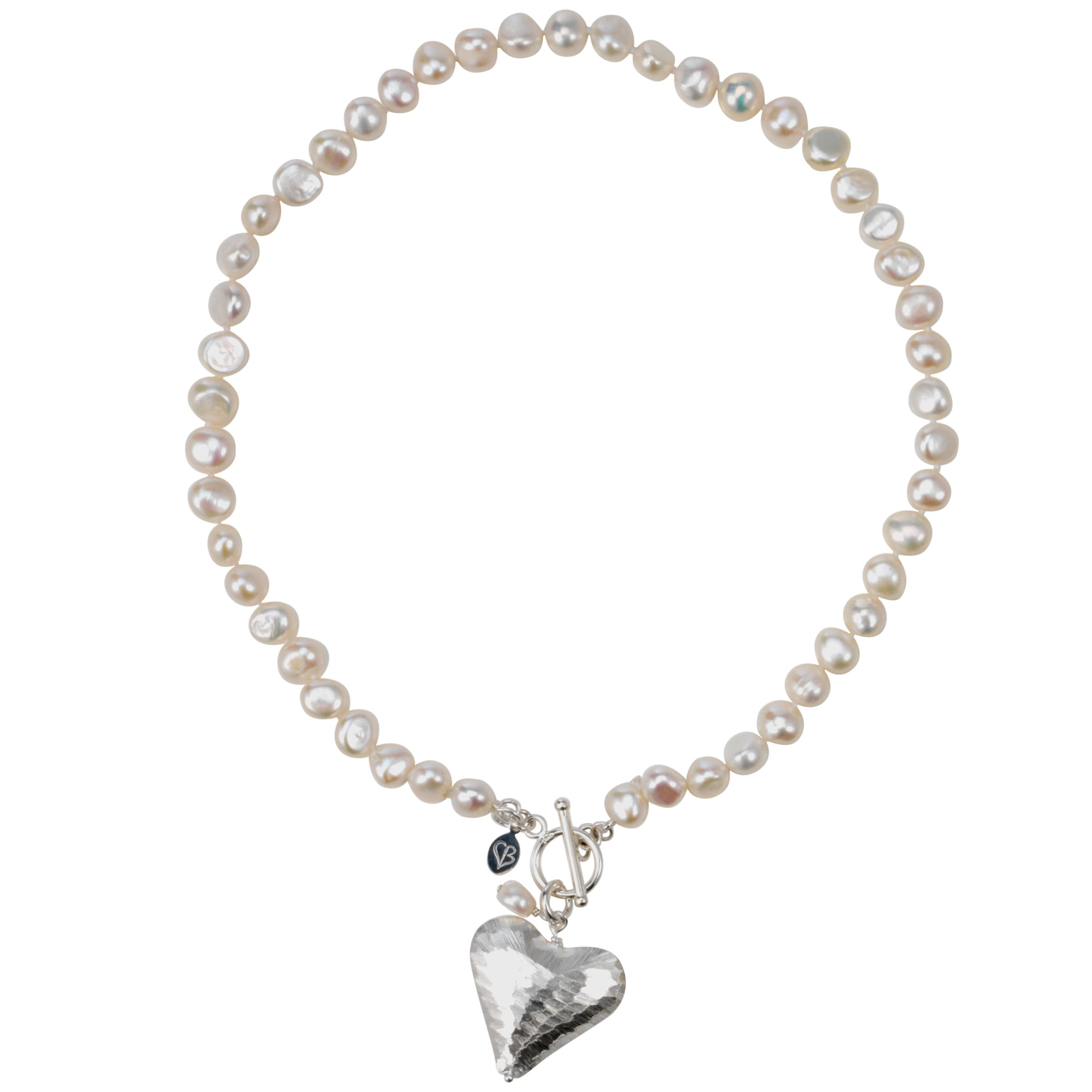 Claudia Bradby Snake Skin Heart White Pearl Necklace