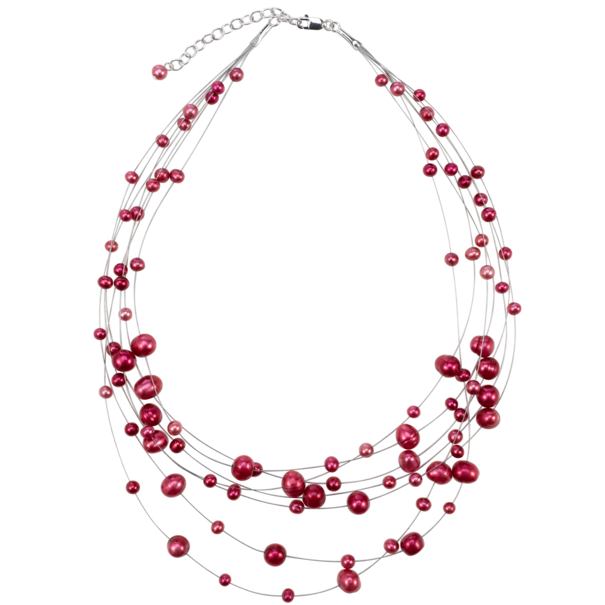 Lido Pearls Wire 7 Strand Pearl Illusion Necklace, Pink
