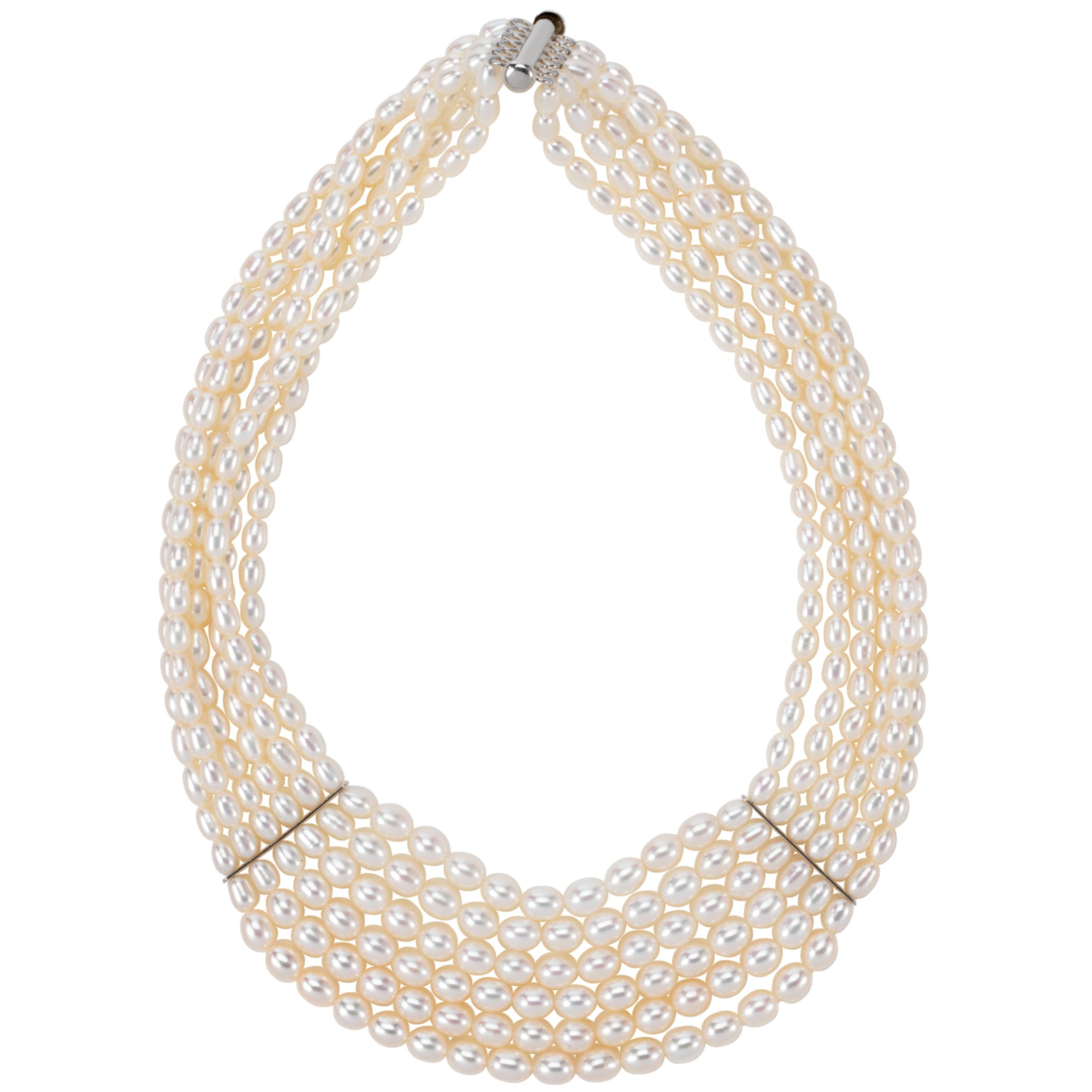 Lido Pearls 6 Row Classic White Pearl Necklace