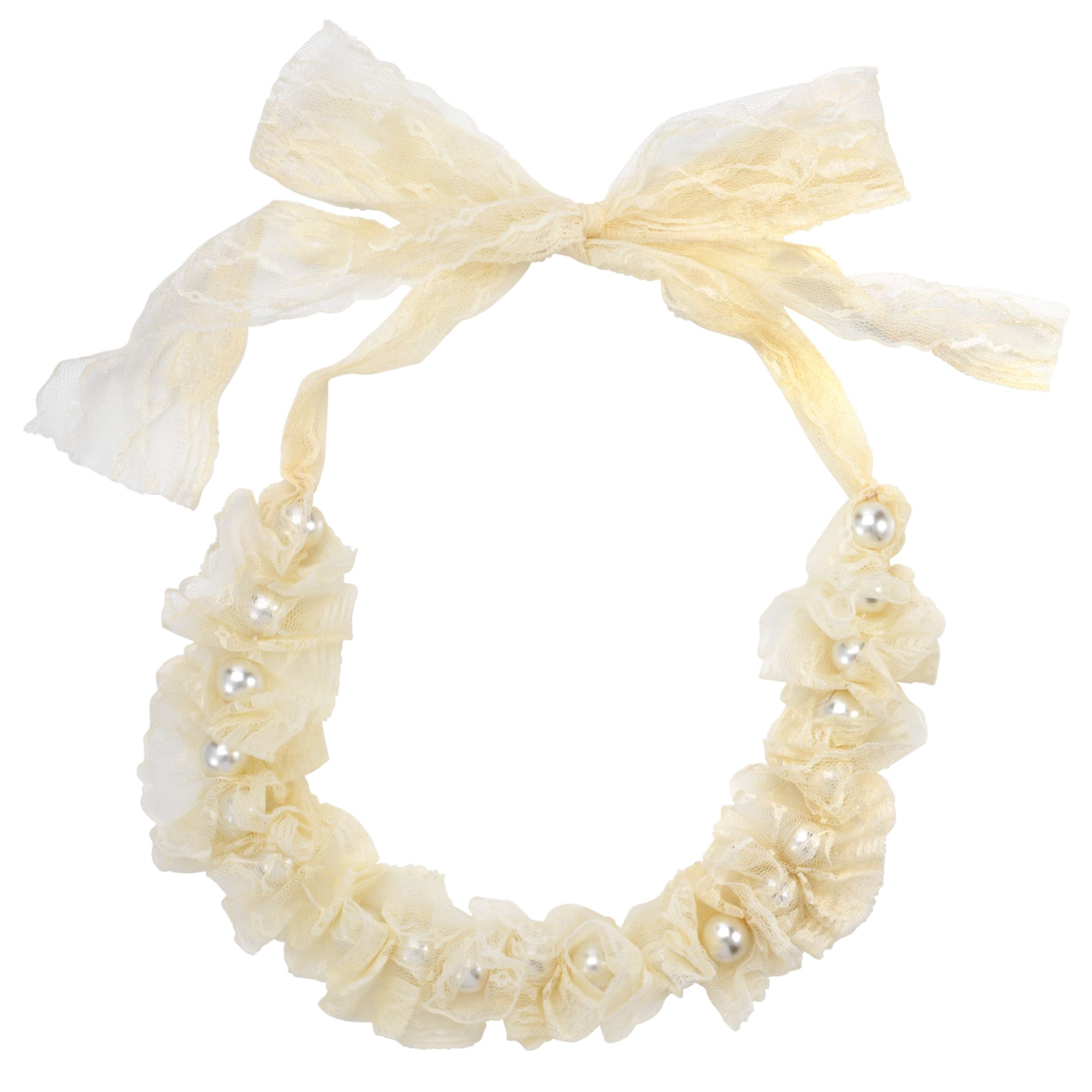 Adele Marie Cream Lace Pearl Necklace