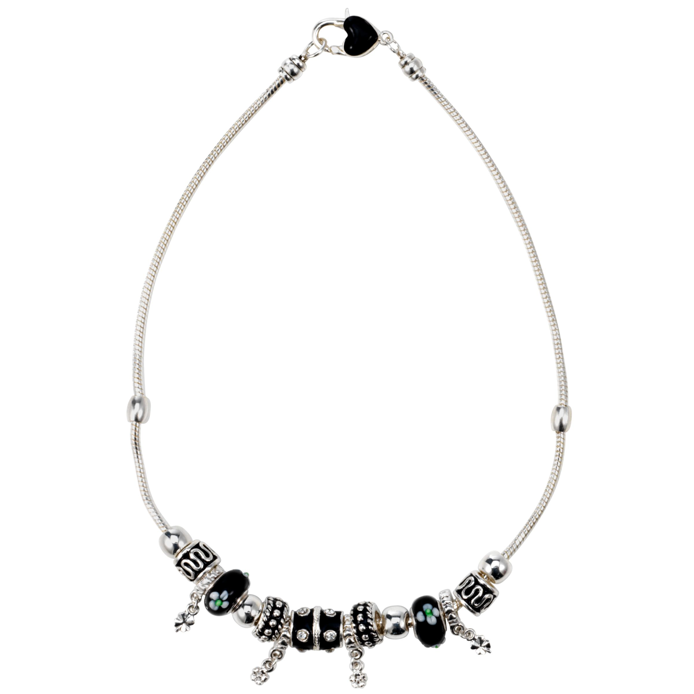 John Lewis Women Black and Crystal Bead Necklace