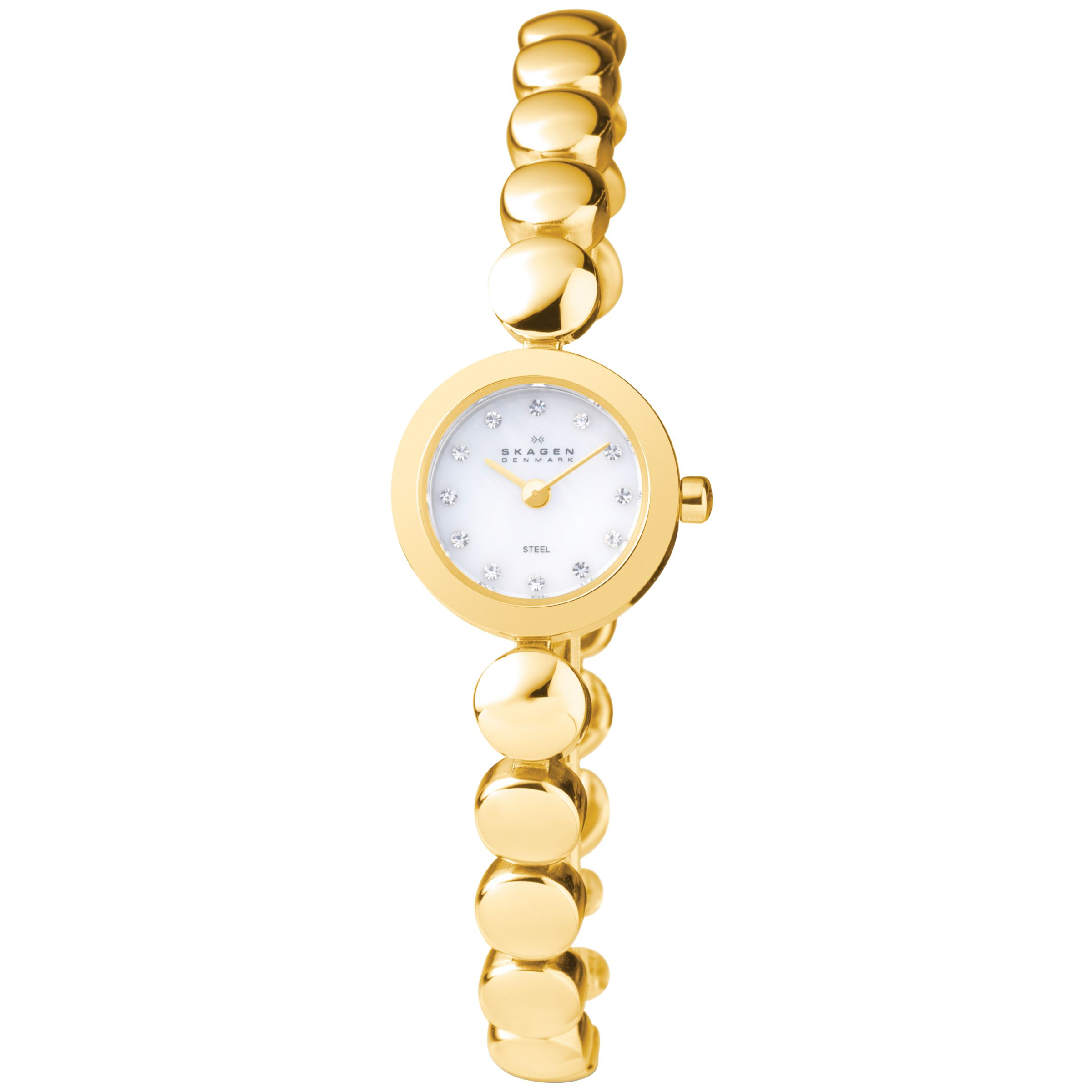 dial steiner ladies watch diamond accented august swiss bracelet chain pin link watches quartz
