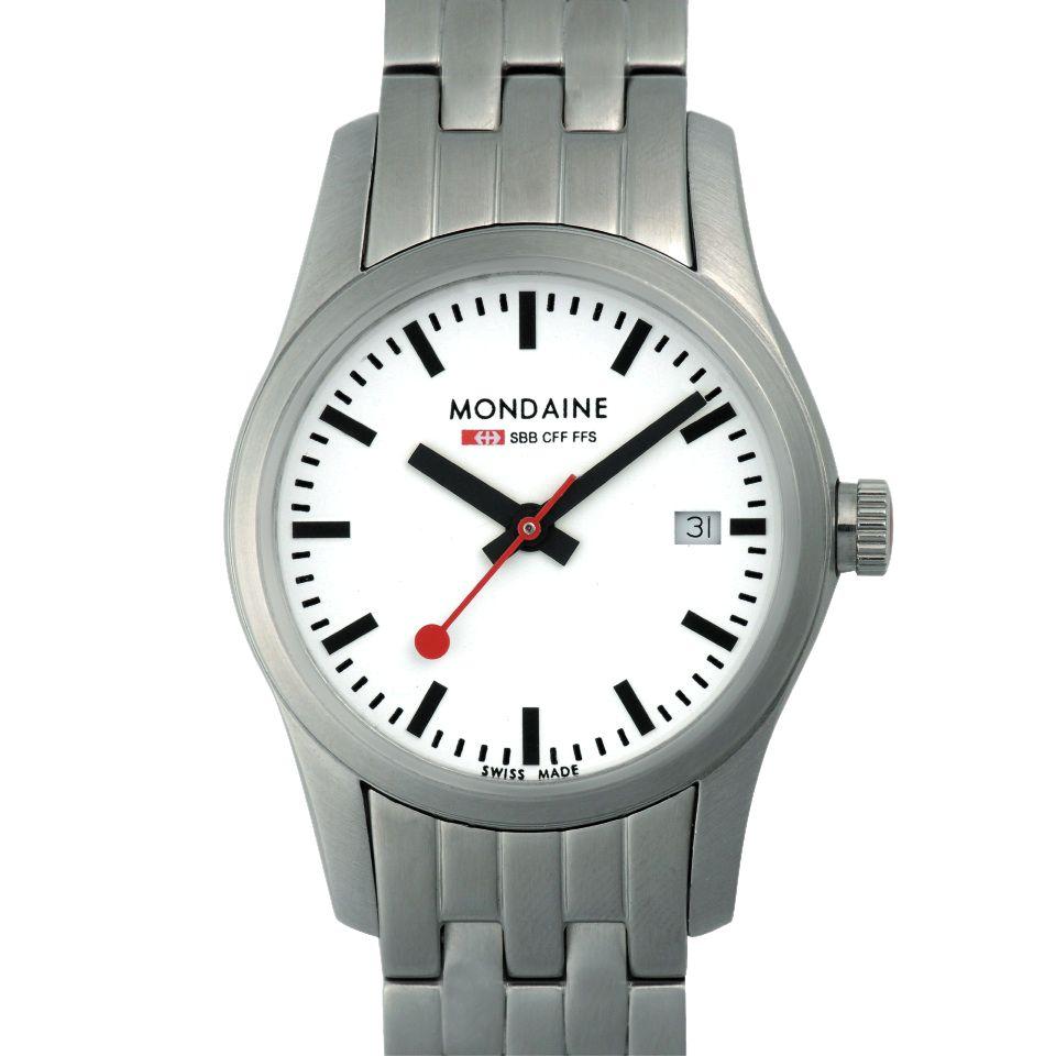 Mondaine Retro Date Women's Bracelet Watch, Silver at John Lewis