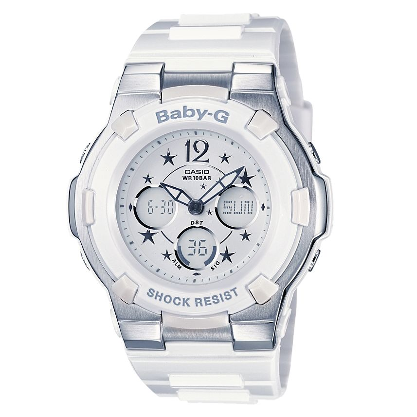 Casio BGA-113-7BDR Baby-G Chronograph Strap Watch, White