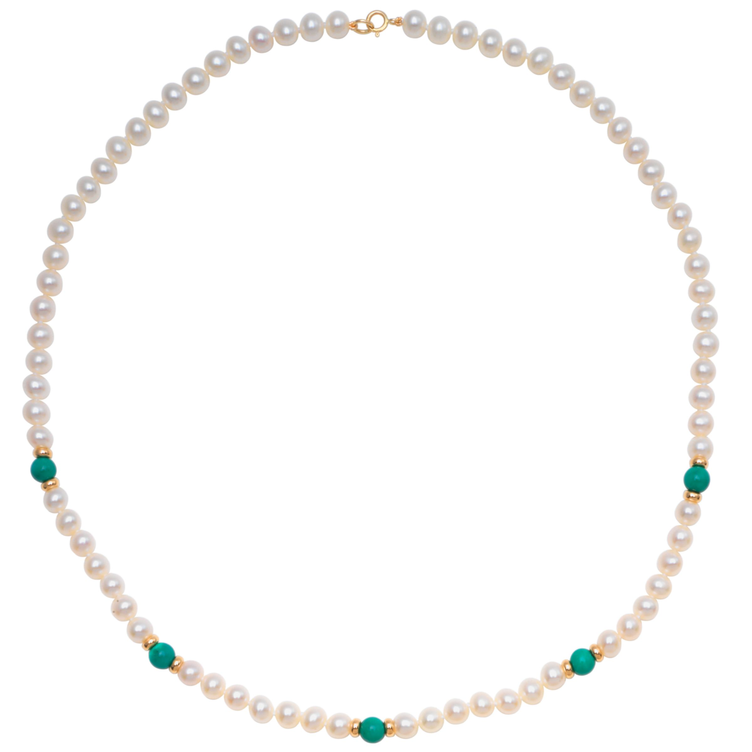 Freshwater Pearl, Gold and Coloured Bead 18